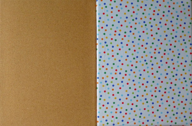 Photo of a plain cork board and one with fabric covering it. A before and after.