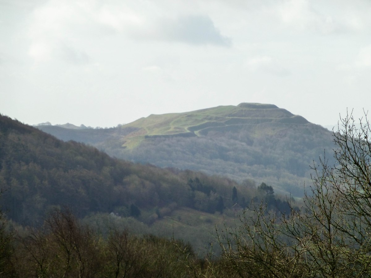 A closer view of the British Camp earthworks from the Worcestershire Beacon trail