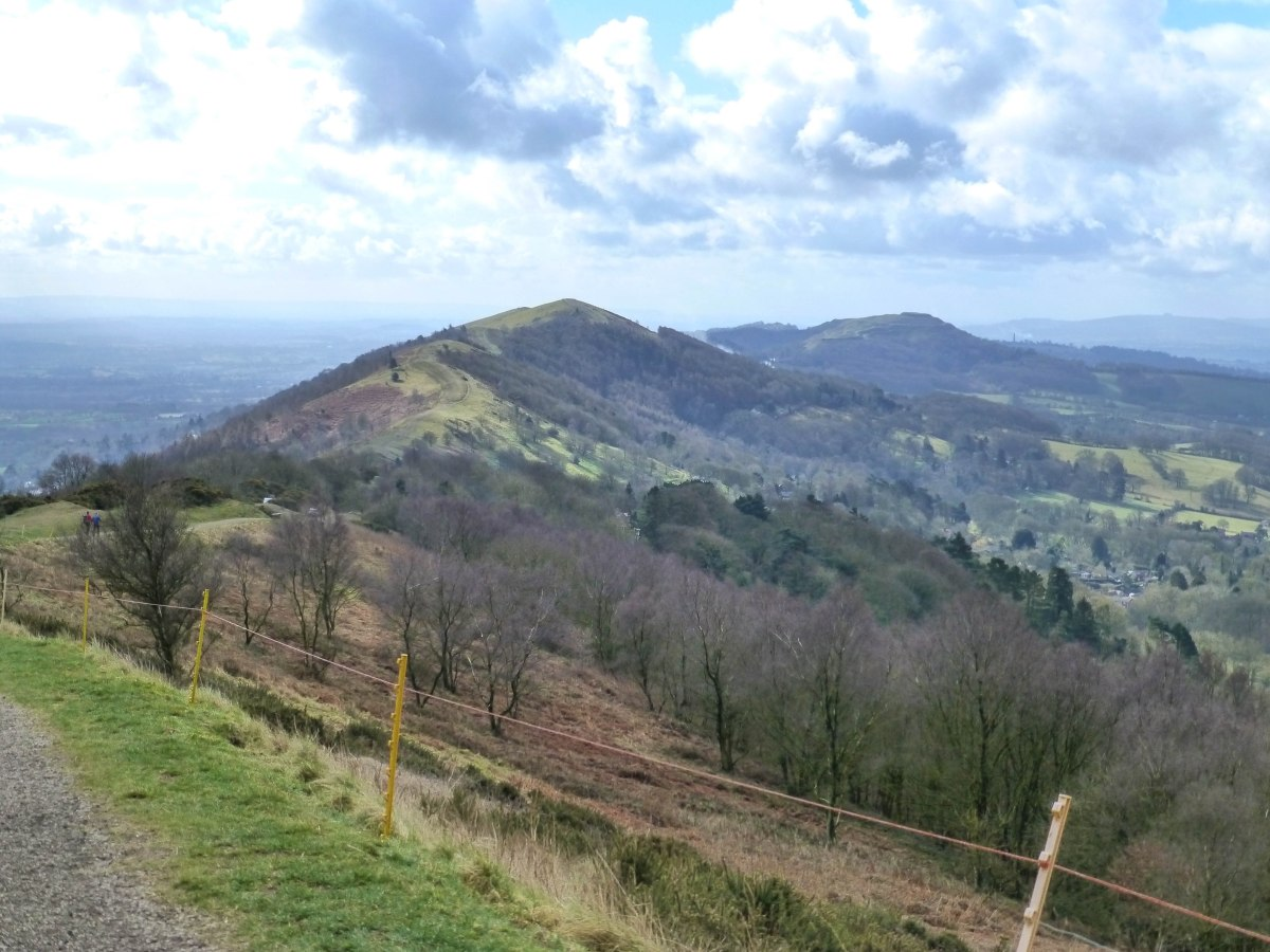 A photo of the view south from the Worcestershire Beacon trail looking towards British Camp.