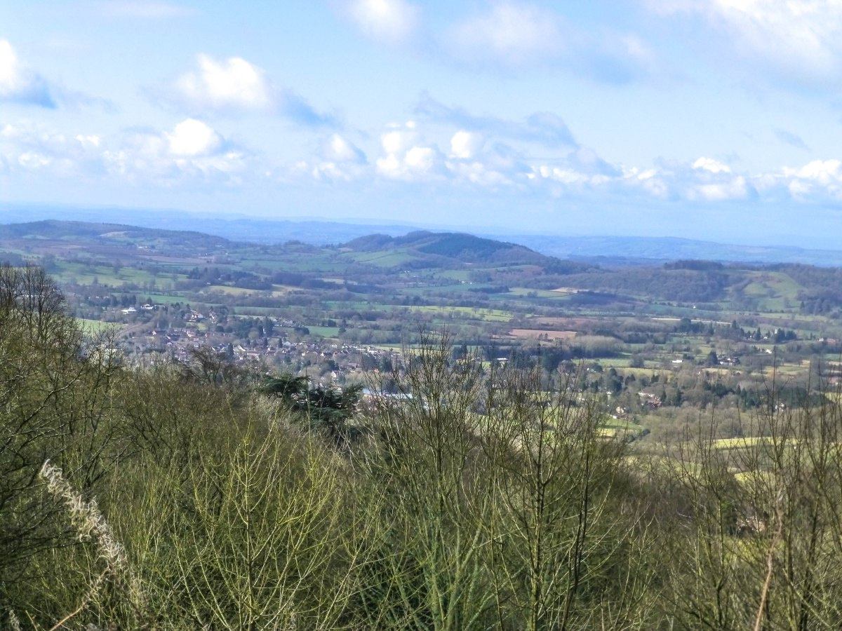 A photo of the view from the Worcestershire Beacon trail towards Hereford.