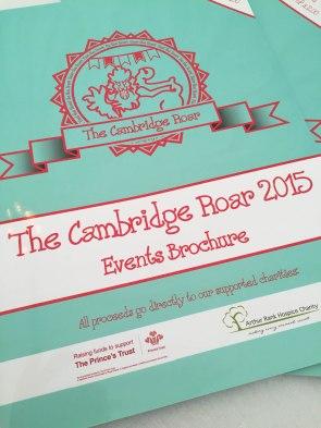 A photograph of the Cambridge Roar events brochure