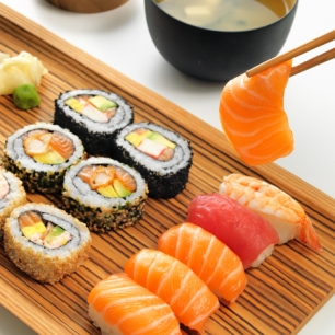 A photograph of a selection of sushi.