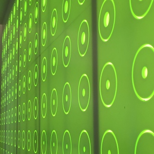 A close-up photograph of the wall decor: white circles in a uniform pattern across a luminous green background.