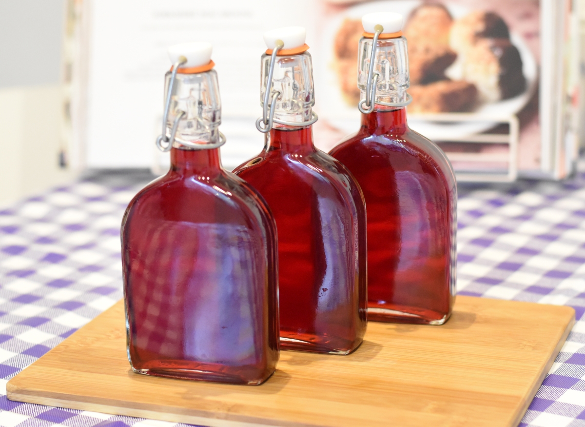 A photo of the three filled and sealed bottles.