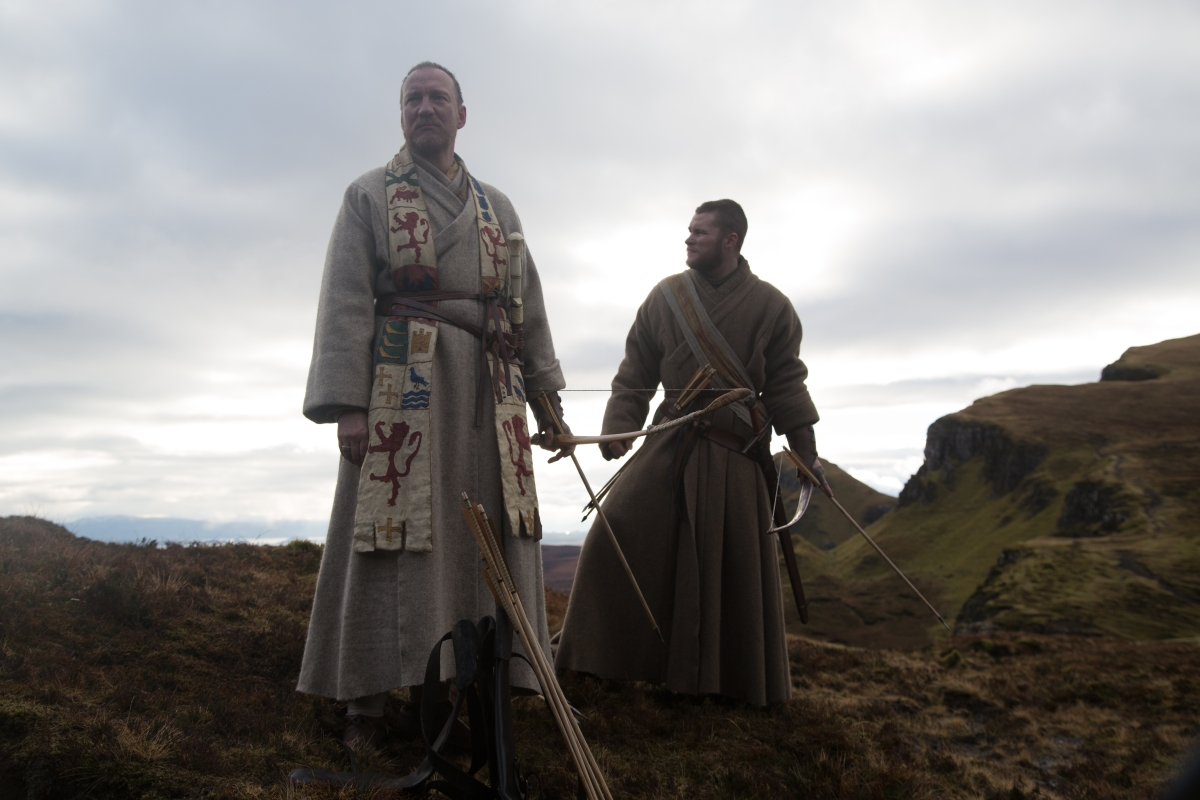 A photograph of David Thewlis as Duncan and Jack Reynor as Malcolm filming on the Isle of Skye.