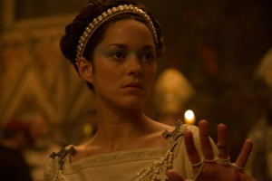 A photograph of Marion Cotillard as Lady Macbeth at the banquet, filmed in the cathedral's Lady Chapel.