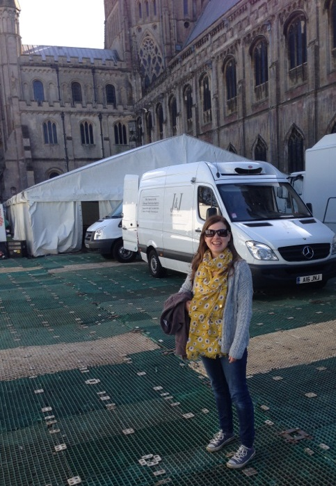 A photograph of Emma outside the extra's marquee on the last day of filming.