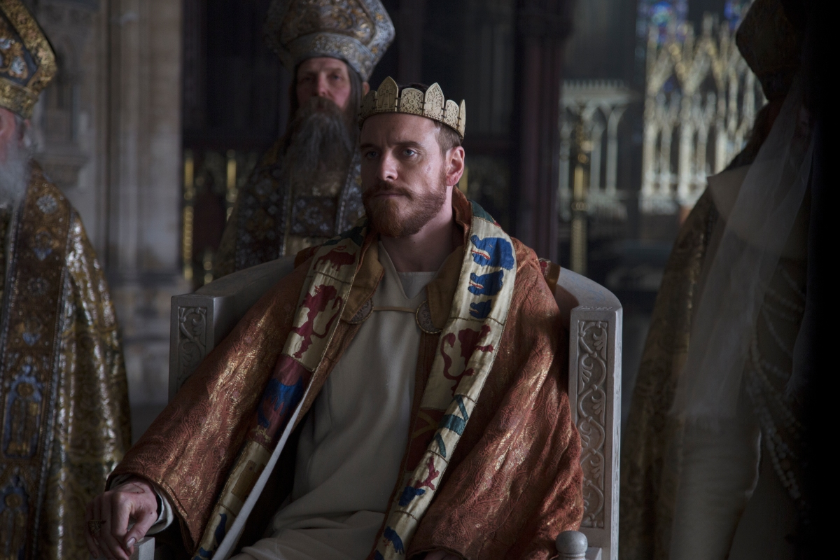 A photograph of Michael Fassbender as Macbeth during the Coronation.