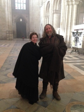 A photograph of Emma with another extra on the first day of filming