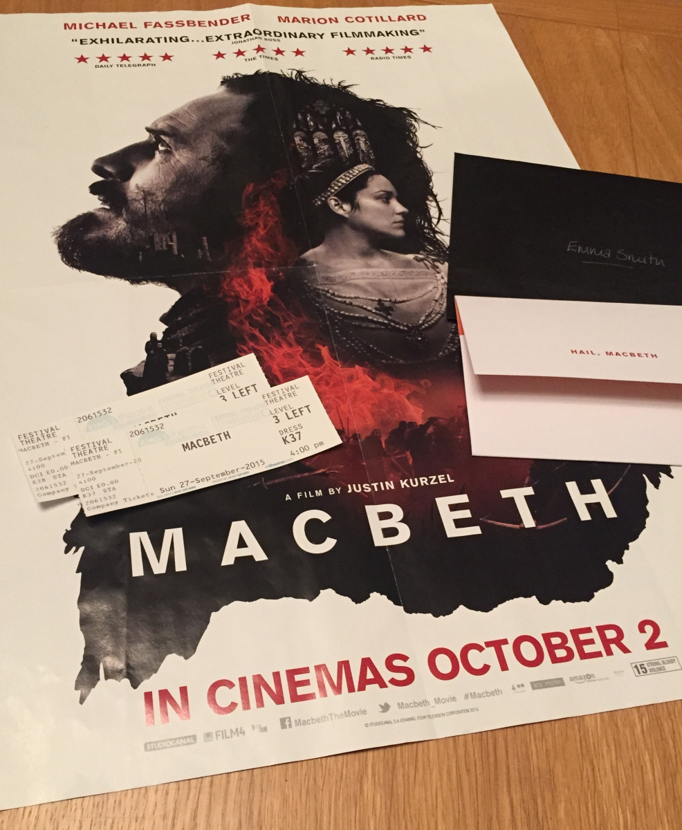 A photograph of a Macbeth poster and Emma's tickets to the Premiere.