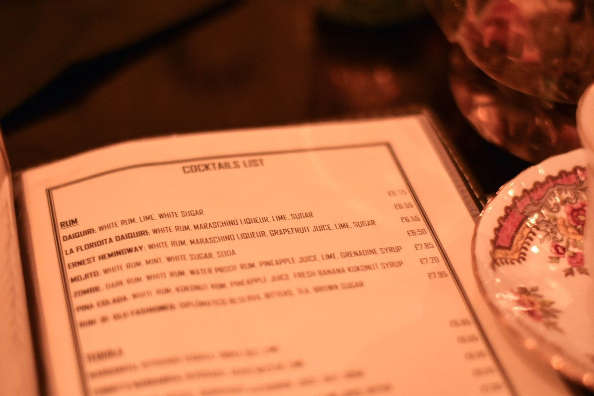 A photograph of the cocktail list