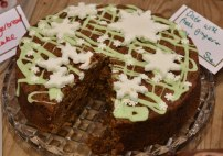 A close up photograph of the date and ginger cake.