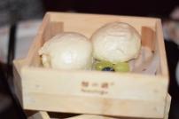A photograph of two egg cream buns