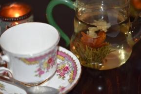A photograph of the beautiful flowering tea: Jasmine Goddess