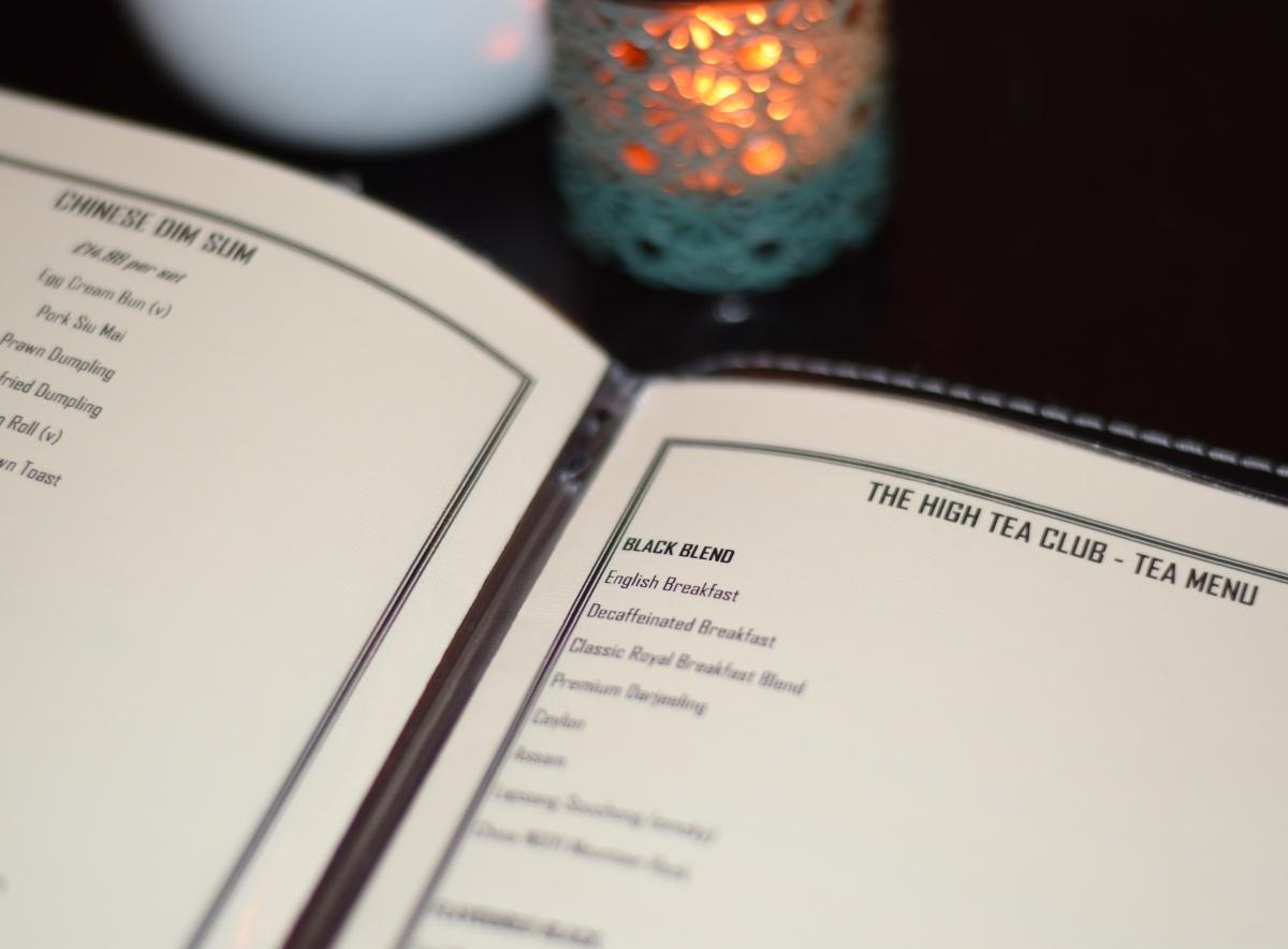 A photograph of just part of the extensive tea menu