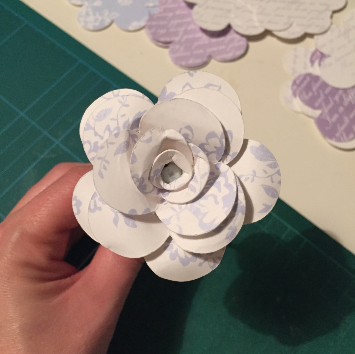 A close up photograph of one of Emma's complete flower