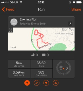A photograph of the Strava app showing Emma's first 5km run