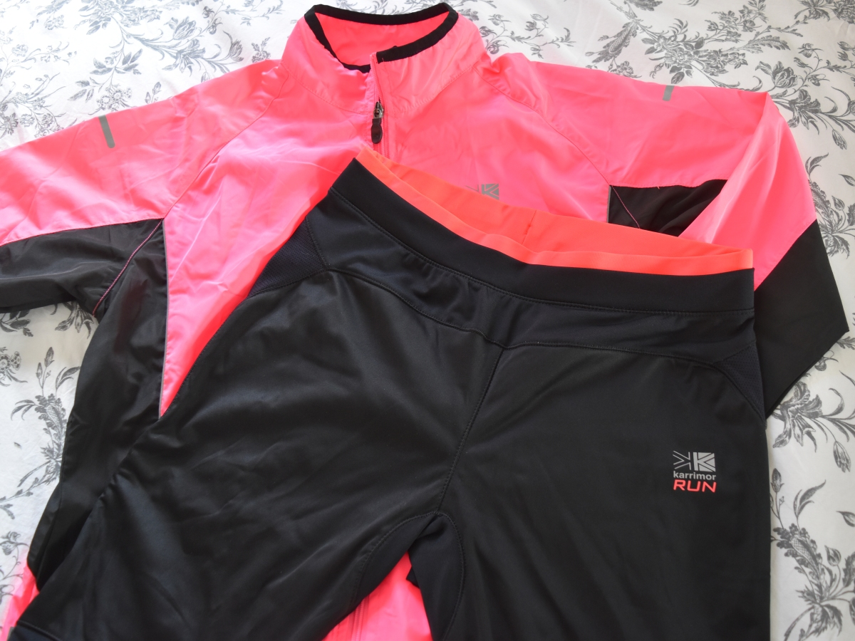 A photograph of the new running trousers and jacket that Emma's mum bought for her