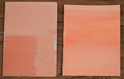 A photograph of the notepad that inspired the background design and the painted background card. The pink, orange and peach shades were washed vertically over the card using a flat sponge