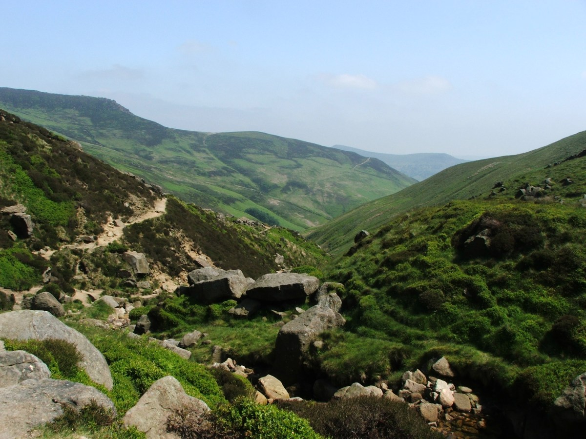 A photograph looking across Kinder Scout