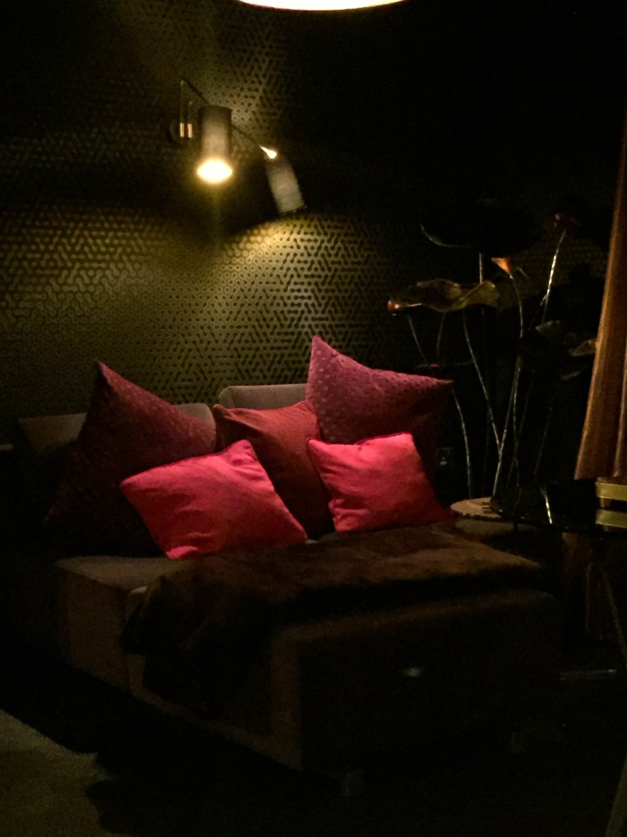 A photograph of the darkened chill out room