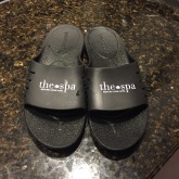 A photograph of the complimentary flip flops that Emma used