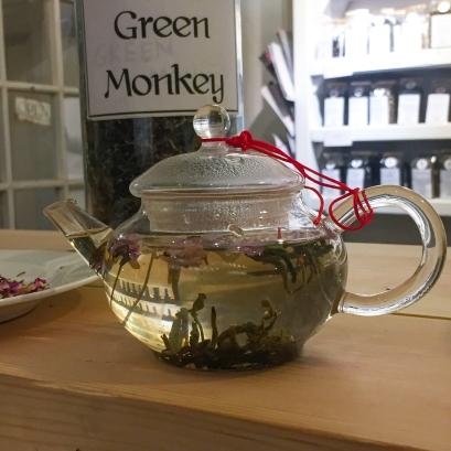 A glass tea pot full of Emma's new tea blend