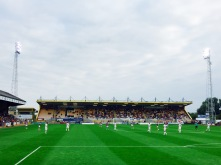 A photograph of Emma's view from the terrace at Cambridge United when they played Aston Villa in July 2016
