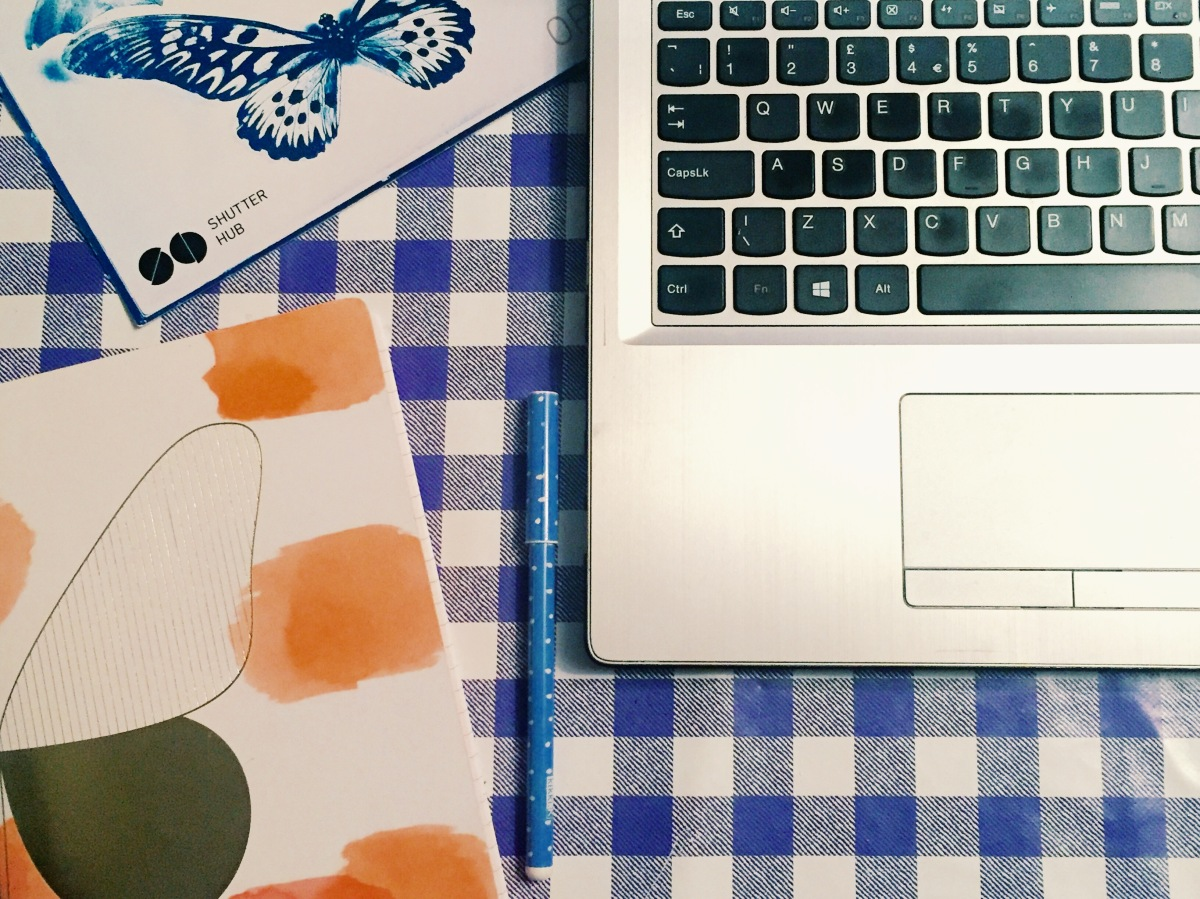 A photograph showing part of Emma's laptop, part of her notepad she used at the workshop and a corner of the Shutter Hub flyer. It was posted on Emma's Facebook page as a heads-up for this blog post