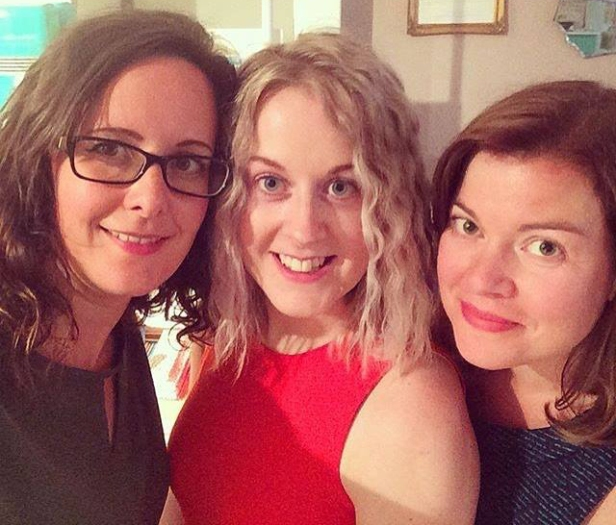 A selfie photograph of Emma and two other blogger friends, Alice and Gemma