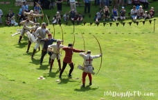 A photograph of the archers in action.