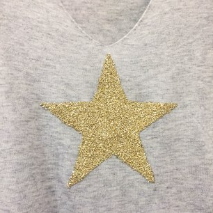 A photograph of the grey jumper with large gold star that Emma bought