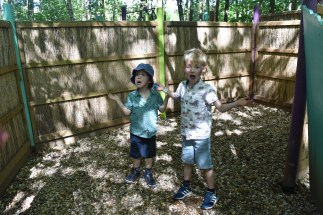 A photograph of Ben and Ollie posing with perplexed looks as though they're lost in the maze.