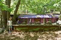 A photograph of a wooden Boggle pub.