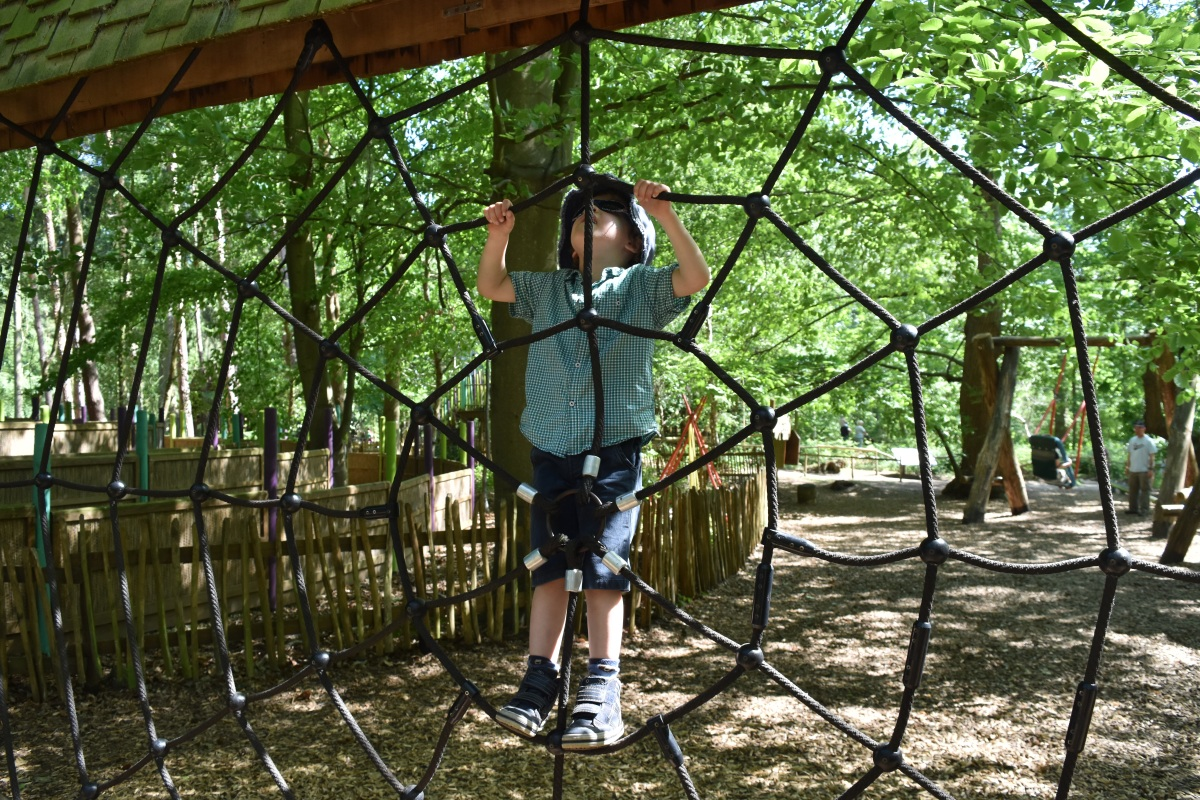 A photograph of Ben climbing on a rope spider web.