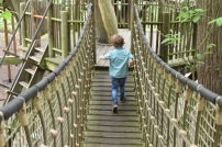 A photograph of Ben running across a suspended wooden bridge.