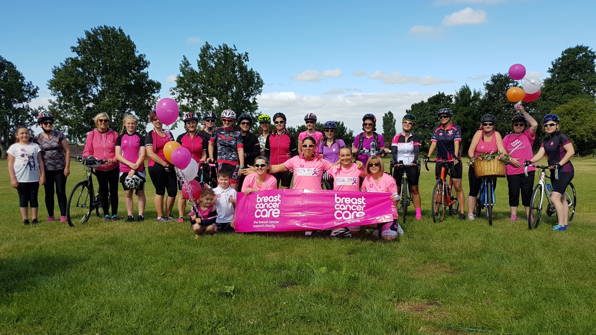 A photograph of some of the ladies taking part in The Pink Ribbon Ride in Chatteris.