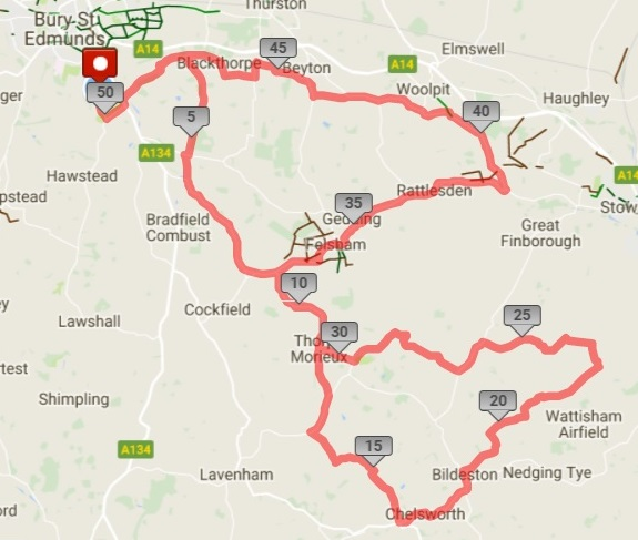 A copy of the map of the 50-mile ride around Suffolk to the south of Bury St Edmunds.