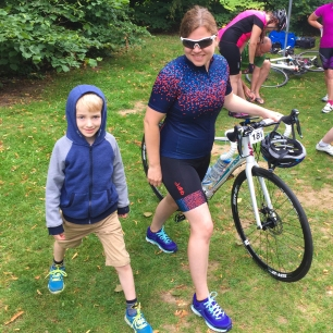 A photograph of Ollie and Emma taking part in the pre-ride warm up.