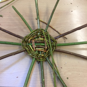 A photograph of the spokes starting to spread out evenly.