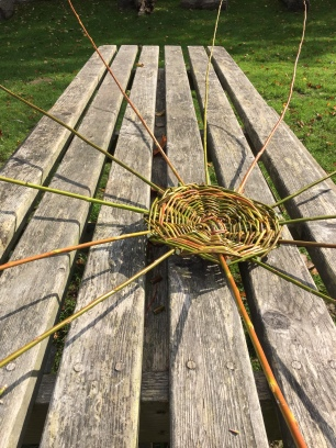 A view of the base and spokes looking down the table.