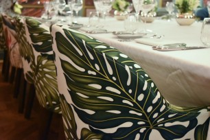 A photograph showing a close-up of a chair in the private dining room