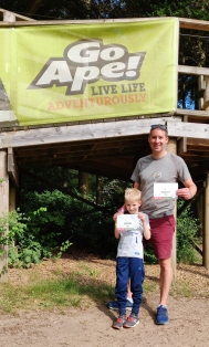 A photograph of Ollie and Rob with their certificates to prove they completed the course.
