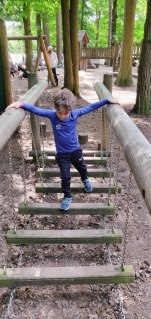 A photograph of Ben going along a wibbly wobbly bridge in the park obstacle course.
