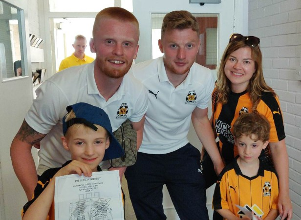 A photo of Ollie and Ben meeting Liam O'Neil and George Maris after their first U's match