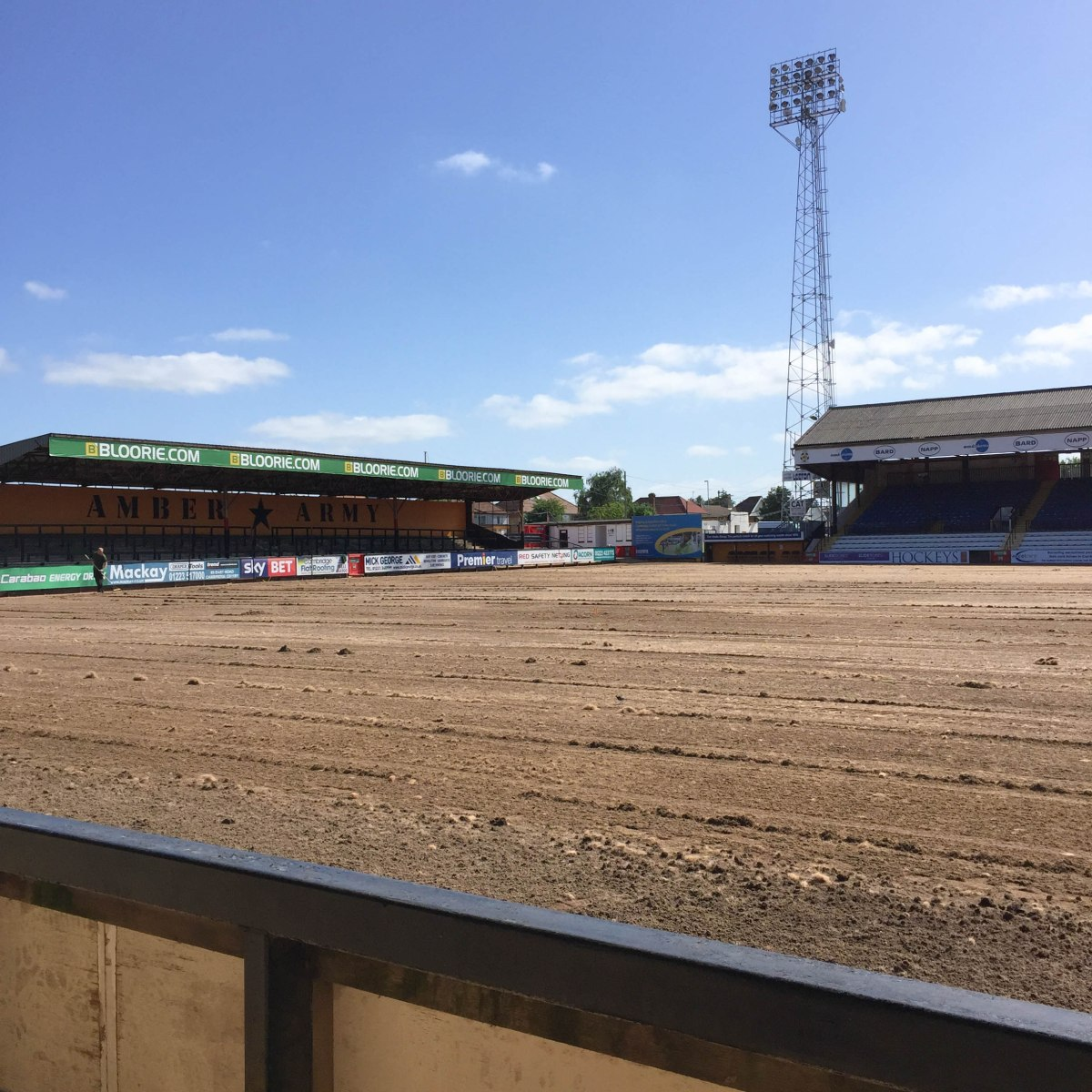 A photo of the pitch being reseeded