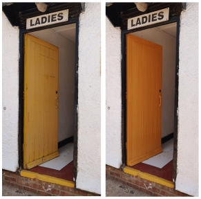 A photo of the ladies toilet door before and after its amber paint