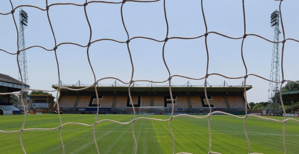 A photo of the South Stand as seen through the net