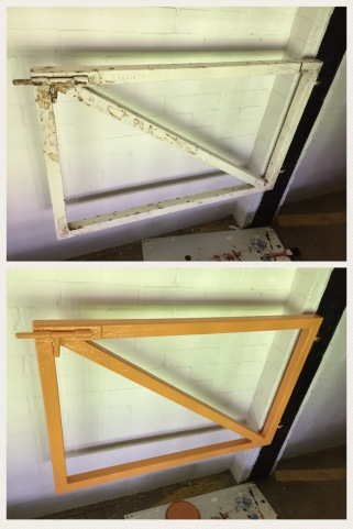 A photo of a gate before and after being painted amber