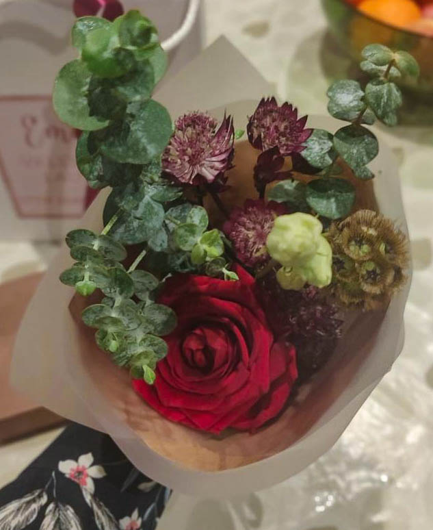 A photograph of the mini bouquet given to Emma by Lizzy at Farm Flowers.